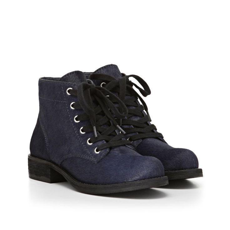 Sam Edelman Bleecker Womens Navy Calf Fur Hair Fashion Ankle Bootie Boots 8.5