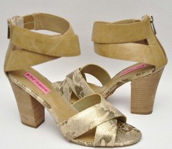 Betsey Johnson Bazar Womens Tan Snake Open Toe Ankle Strap Heel Sandal S... - $39.99