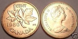 Canada 1980 Uncirculated Cent~Maple Leaf Cent~Free Ship - $1.93