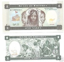 UNC AFRICAN STATE OF ERITREA 1 NAFKA NOTE~FREE SHIPPING - $2.94