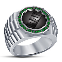 Solid 925 Sterling Silver 14k White Platinum Plated Green Sapphire DAD Ring - $91.69