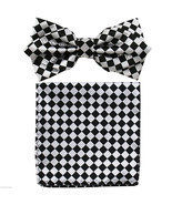 NEW Italy Design Diamond Layer Shape Pretied Bowtie & Pocket Square Hank... - £7.51 GBP