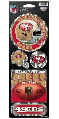 SAN FRANCISCO 49ERS PRISMATIC HOLOGRAPH STICKER DECAL SHEET OF 5 NFL FOOTBALL