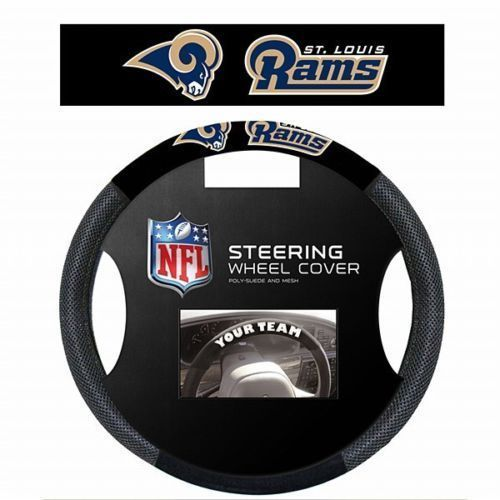 ST. LOUIS RAMS SUEDE MESH CAR STEERING WHEEL COVER NFL FOOTBALL