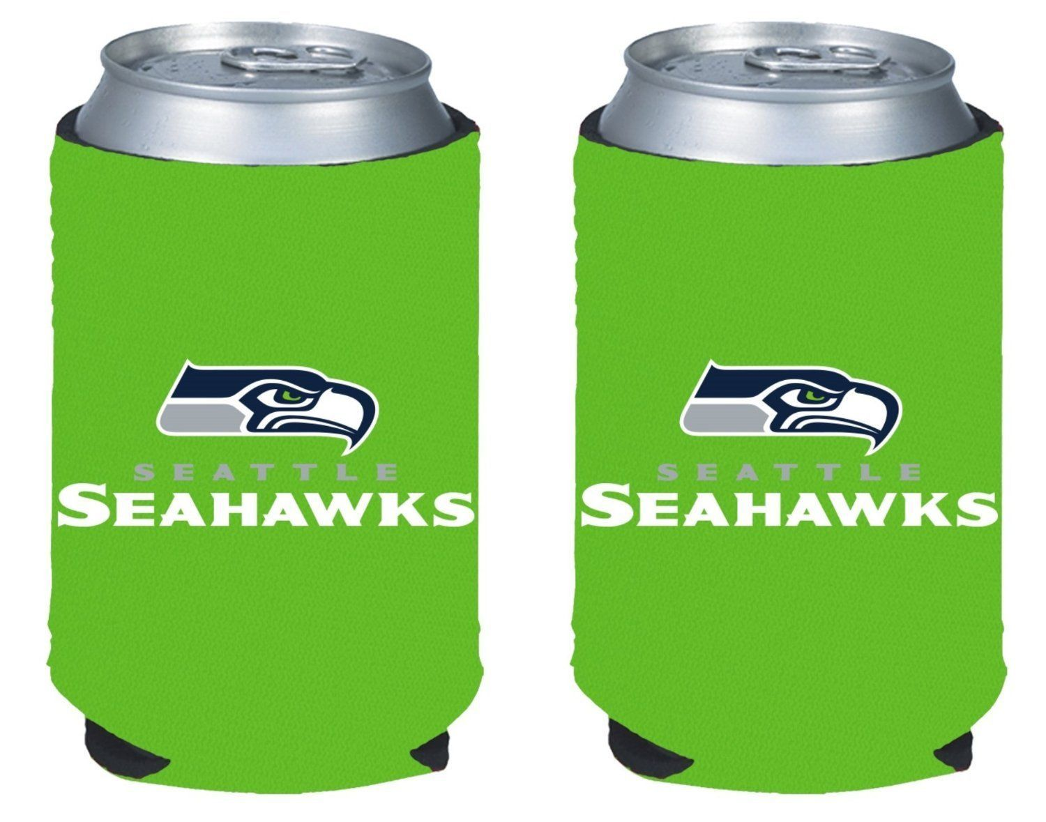 2 GREEN SEATTLE SEAHAWKS BEER SODA CAN BOTTLE KOOZIE KADDY HOLDER NFL FOOTBALL