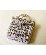 Sterling silver 925 clear crystal CZ fashion hand bag purse clutch penda... - $51.48
