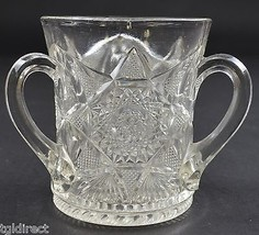 "Clear Pressed Glass Open Sugar With 3 Handles 3.75"" Tall Tableware Glass... - $17.99"