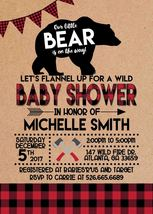 Lumberjack Baby Shower Woodland Flannel Invitation Personalized Bear - £0.76 GBP