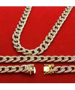 14k Gold Finish Iced Out Simulated Diamond Mens Miami Cuban Chain & Brac... - $225.72