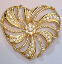 Treasured AVON Rhinestone Heart Shaped Brooch Pin - $16.95