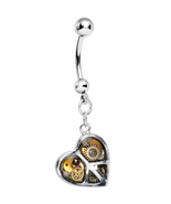 Peace   love steampunk heart belly ring thumbtall