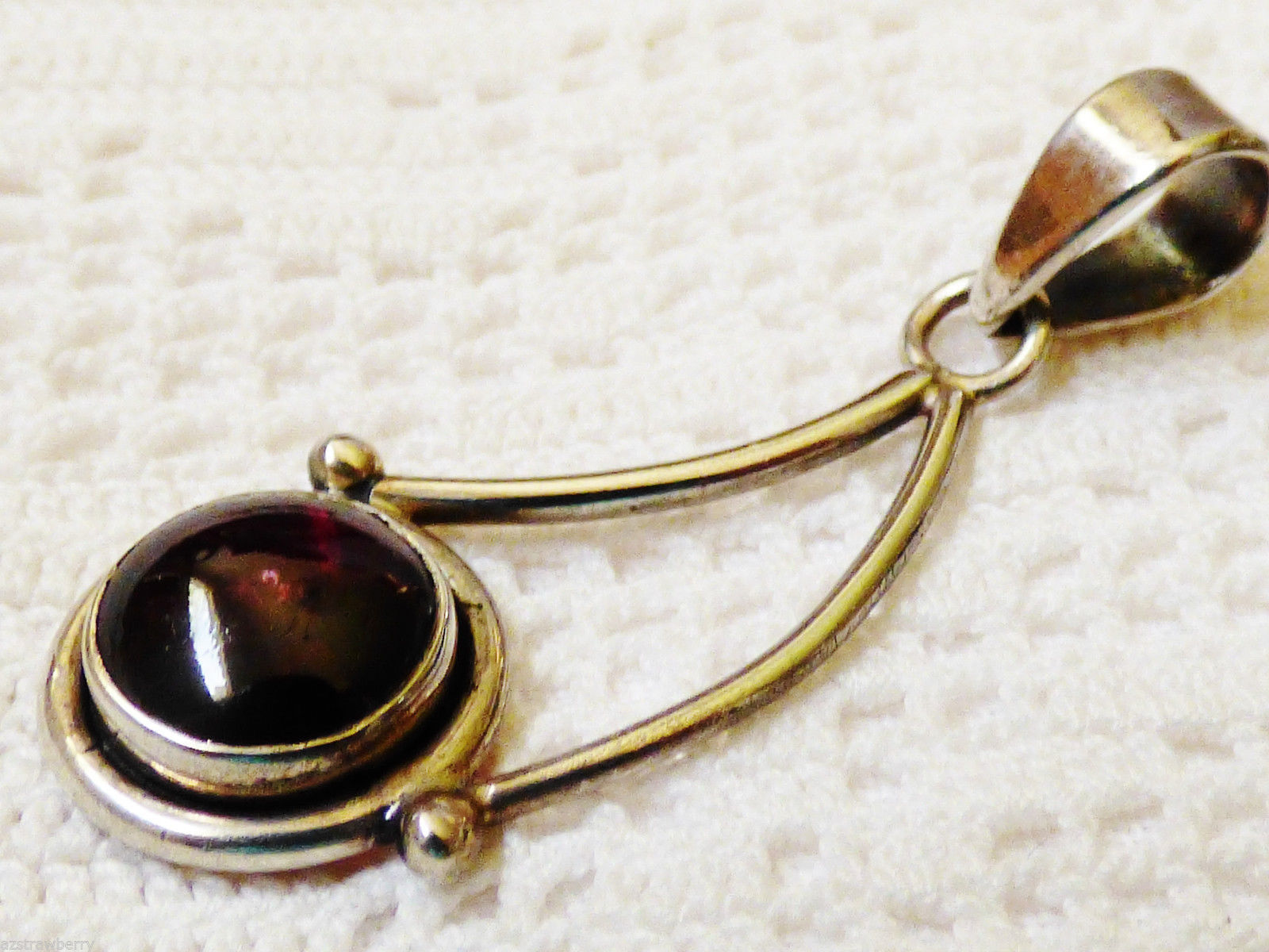 VTG  Sterling Silver 925 Round Amethyst Cherry Berry drop Pendant  charm