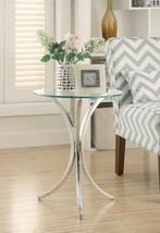 Stylish snack table with clear tempered glass and curved chromed metal base - $83.93