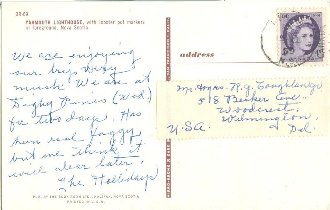 Canada, Yarmouth Lighthouse, Nova Scotia, 1959 used Postcard