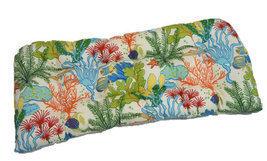 Indoor / Outdoor Tufted Wicker Loveseat Cushion - Splish Splash Tropical... - £37.42 GBP