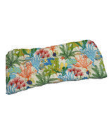 Indoor / Outdoor Tufted Wicker Loveseat Cushion - Splish Splash Tropical... - $62.41 CAD