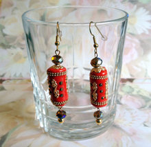 Handmade Kashmiri Long Beaded Dangle Drop Earrings Red Gold Topaz - $16.00