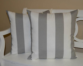 """Set of 2 - Indoor / Outdoor 24"""" Gray and White Stripe Decorative Throw P... - £50.02 GBP"""