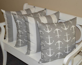 """Set of 4 - In / Outdoor 20"""" Gray White Stripe & Anchor Decorative Throw ... - £50.02 GBP"""