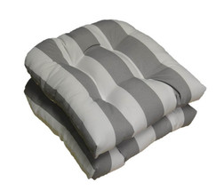 Set of 2 In / Outdoor 19 x 19 Gray and White Stripe Tufted Wicker Cushions - £37.88 GBP