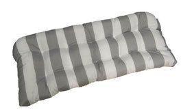 Indoor / Outdoor Tufted Wicker Loveseat Cushion - Gray and White Stripe - €40,82 EUR