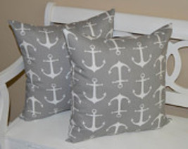 """Set of 2 - Indoor / Outdoor 20"""" Gray and White Nautical Anchor Throw Pil... - £35.72 GBP"""
