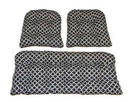 3 Piece Set In/ Outdoor Wicker Loveseat & Chair Cushions Black Geometric... - £71.49 GBP
