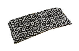 Indoor / Outdoor Tufted Wicker Loveseat Cushion Black & White Geometric ... - £35.72 GBP