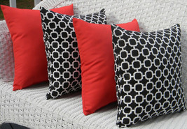 "Set of 4 In/ Outdoor 20"" Solid Red & Black Whit... - $69.96"