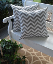 """Set of 2 - Indoor / Outdoor 20"""" Gray and White Chevron Decorative Throw ... - £35.72 GBP"""