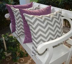 "Set of 4 In / Outdoor 20"" Gray White Chevron & Lavender Decorative Throw... - £50.02 GBP"