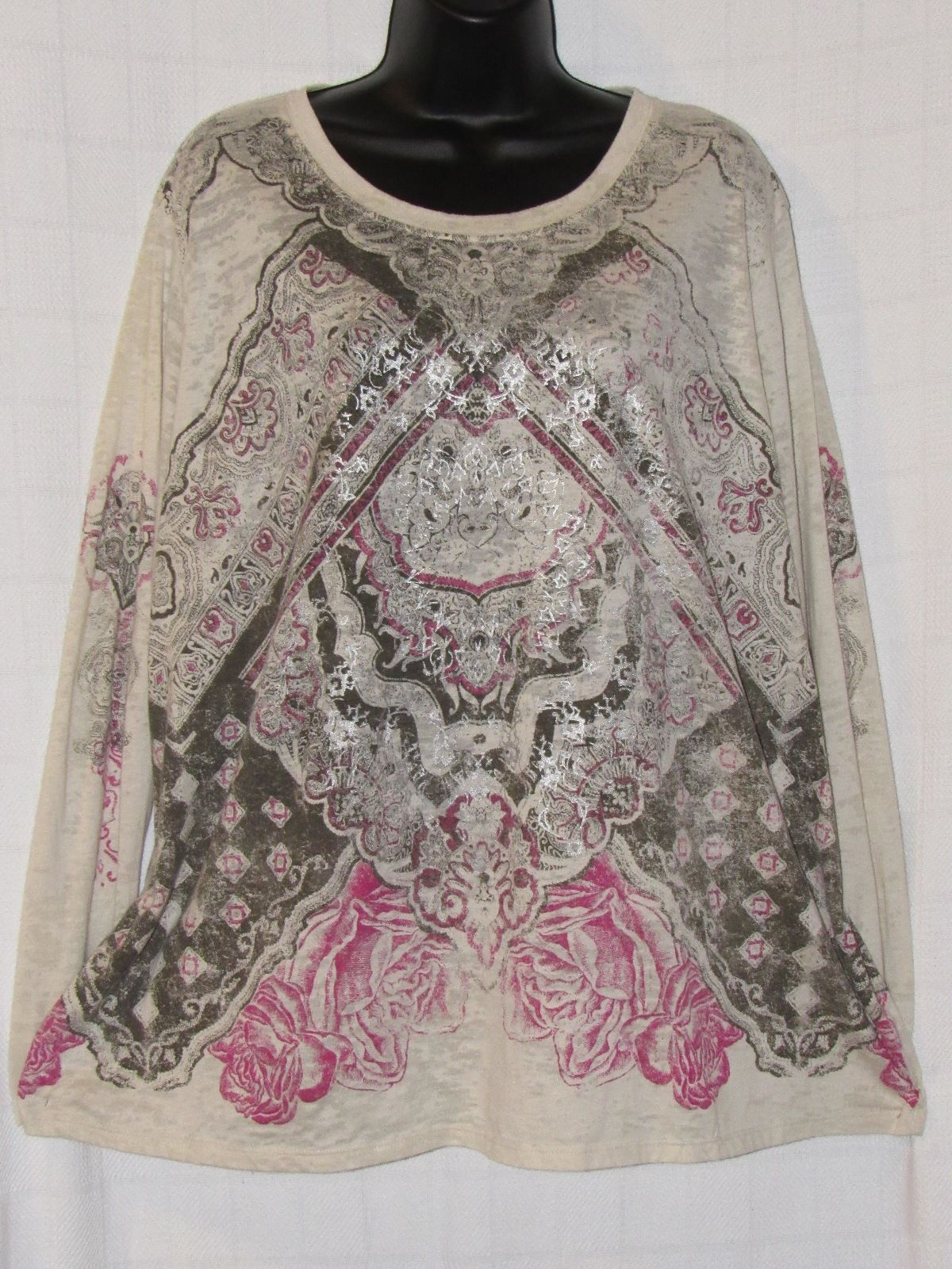 Cato Metallic Floral Print Multi-Color Polyester/Cotton Long Sleeve Plus Top