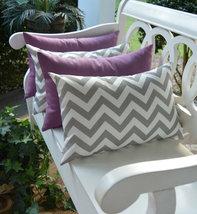 Set of 4 - In / Outdoor Lumbar Throw Pillows - Gray and White Chevron & ... - £35.72 GBP