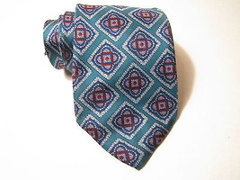 BERT PURLITZER Regent Necktie. Green and Blue Diamond Pattern.. 100% Silk. - €7,51 EUR