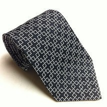 RALPH LAUREN Silk Neck Tie Black With Silver Squares EUC Dapper Geometri... - €18,84 EUR