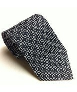 RALPH LAUREN Silk Neck Tie Black With Silver Squares EUC Dapper Geometri... - $23.20