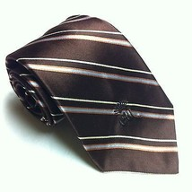 Countess Mara Silk Necktie Brown Gold Stripe EUC Mens Luxury Tie - $14.14