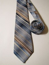 WEMBLEY Vintage Skinny Neck Tie. Blue & Brown Stripes. - $8.84