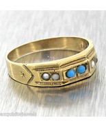 1880s Antique Victorian 8ct 333 Yellow Gold Seed Pearl Turquoise Band Ri... - $398.99