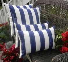 "Set of 4 - Indoor / Outdoor 20"" Navy Blue White Stripe Decorative Throw ... - £42.87 GBP"