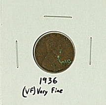 1936 United States Lincoln Wheat Penny Rating (VF) Very Fine - $0.20
