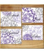 Purple Gray Wall Art Bathroom Bath Print Decor Peony Floral Flower Soak ... - $13.51