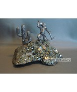 Gold Miner Pewter Figurine Embedded in Pyrite Crystals - $18.99