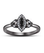 .925 Silver 14K Black Gold Plated in Black & White CZ Promise Engagement Ring - £52.39 GBP