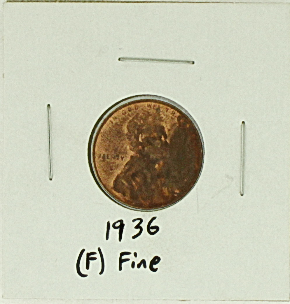 1936 United States Lincoln Wheat Penny Rating (F) Fine - $0.16