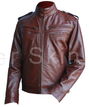 Leather Skin Men Reddish Brown Genuine Leather Jacket - $179.99