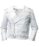 Leather Skin Men White Brando Biker Motorcycle Genuine Leather Jacket - $179.99