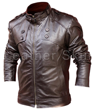 Leather Skin Men Brown Biker Motorcycle Genuine Leather Jacket with Chest Button - $179.99