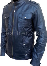 Leather Skin Men Black Biker Motorcycle Genuine Leather Jacket - $179.99