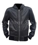 Leather Skin Men Black Hooded Hoodie Genuine Leather Jacket - $179.99